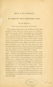 Cover of: Men and things in Albany two centuries ago