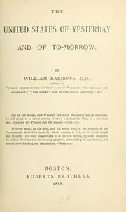 Cover of: The United States of yesterday and of to-morrow
