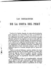 Cover of: Las irrigaciones de la costa ..