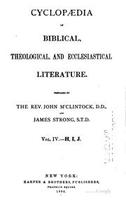 Cover of: Cyclopædia of Biblical, theological, and ecclesiastical literature | McClintock, John
