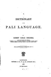 Cover of: A dictionary of the Päli language