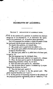 Cover of: Elements of algebra
