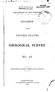 Cover of: Bibliography of North American geology for 1886