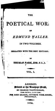 Cover of: Poetical works of Edmund Waller