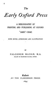 Cover of: early Oxford press | Falconer Madan