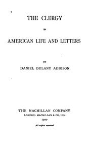 Cover of: The clergy in American life and letters