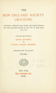 Cover of: The New England society orations | Cephas Brainerd
