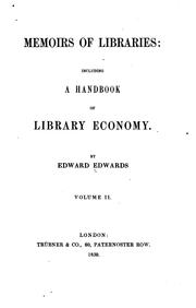 Cover of: Memoirs of libraries