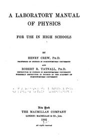 Cover of: A laboratory manual of physics for use in high schools | Crew, Henry