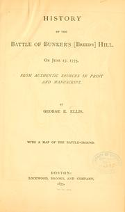 Cover of: History of the Battle of Bunker's (Breed's) Hill, on June 17, 1775