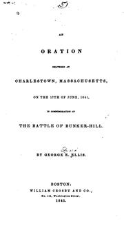 Cover of: An oration delivered at Charlestown, Massachusetts
