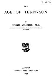 Cover of: age of Tennyson | Walker, Hugh