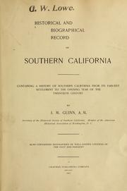 Cover of: Historical and biographical record of southern California
