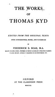 Cover of: The works of Thomas Kyd