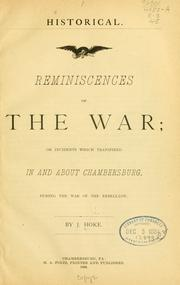 Cover of: Reminiscences of the war | Jacob Hoke