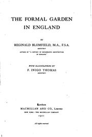 Cover of: The formal garden in England