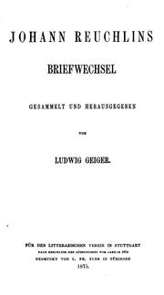 Cover of: Johann Reuchlins Briefwechsel