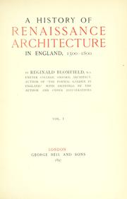 Cover of: A history of renaissance architecture in England, 1500-1800