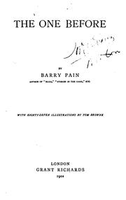 Cover of: one before | Barry Pain
