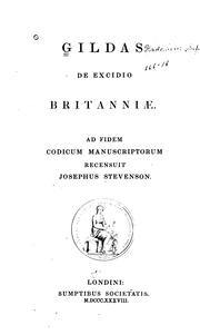 Cover of: Gildas De excidio Britanniæ