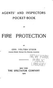 Cover of: Agents' and inspectators pocket-book of fire protection