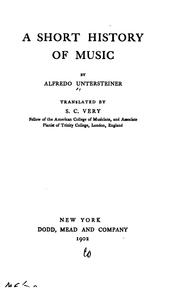 Cover of: short history of music | Alfredo Untersteiner