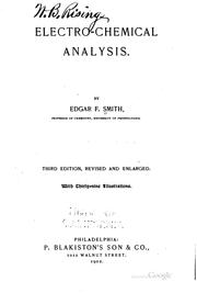 Cover of: Electro-chemical analysis