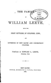 Cover of: family of William Leete | Edward L. Leete
