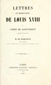 Cover of: Lettres et instructions de Louis XVIII au comte de Saint-Priest