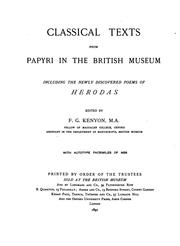 Classical texts from papyri in the British Museum by British Museum. Department of Manuscripts.