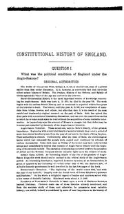 Cover of: Questions and notes on the constitutional history of England, for the use of advanced students and postgraduates in the historical seminary