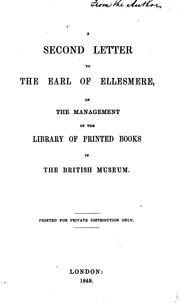 Cover of: A second letter to the Earl of Ellesmere