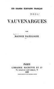 Cover of: Vauvenargues