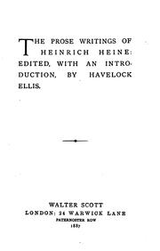 Cover of: The prose writings of Heinrich Heine