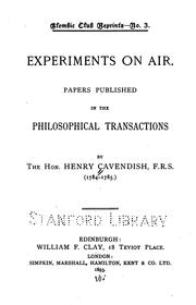 Experiments on air by Henry Cavendish