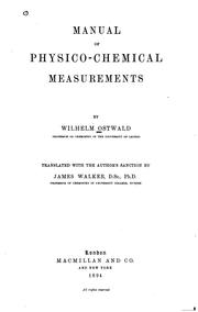 Cover of: Manual of physico-chemical measurements