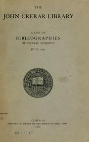 Cover of: A list of bibliographies of special subjects, July, 1902