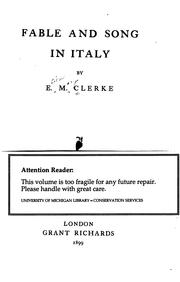 Cover of: Fable and song in Italy | Ellen Mary Clerke