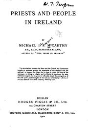Priests and people in Ireland by McCarthy, Michael J. F. (Michael John Fitzgerald)