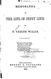 Cover of: Memoranda of the life of Jenny Lind