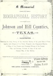 Cover of: A memorial and biographical history of Johnson and Hill counties, Texas by