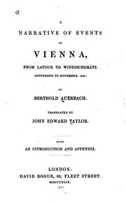 Cover of: Narrative of events in Vienna, from Latour to Windischgrätz