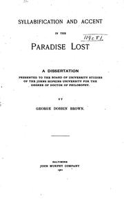 Syllabification and accent in the Paradise lost by Brown, George Dobbin