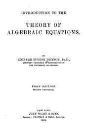 Cover of: Introduction to the theory of algebraic equations