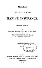 Arnould on the law of marine insurance by Arnould, Joseph Sir