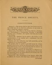 Cover of: Prince Society. | Prince Society (Boston, Mass.)