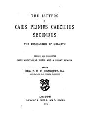 Cover of: The letters of Caius Plinius Caecilius Secundus: the translation of Melmoth