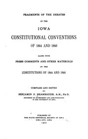 Cover of: Fragments of the debates of the Iowa constitutional conventions of 1844 and 1846 | Benjamin Franklin Shambaugh