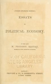 Cover of: Essays on political economy