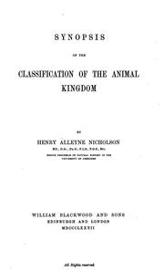 Cover of: Synopsis of the classification of the animal kingdom